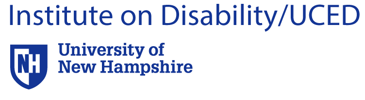 University of New Hampshire Institute on Disability Log with UNH Shield