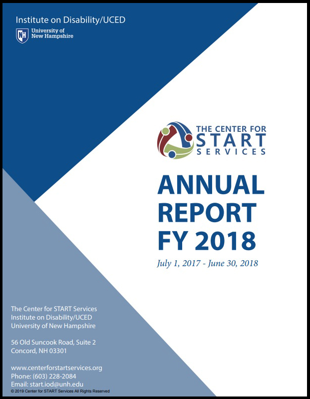 cover of annual report featuring dark and light blue triangles and the Center for START Services logo