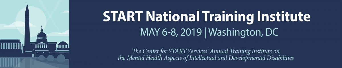 "Banner with picture of Washington monument and capital building that says ""START National Training Institute, May6-8, 2019, Washington DC"""