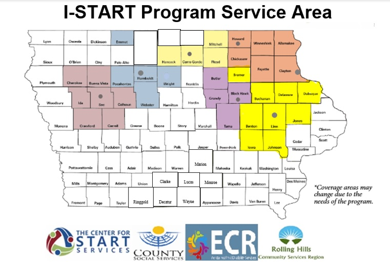 Iowa START Service region map of Iowa with counties shaded in
