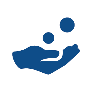 Hand receiving coins icon